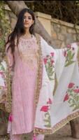 Women Kurta Palazzo Dupatta Indian Kurti Dress Set Ethnic Top Tunic Bottom New