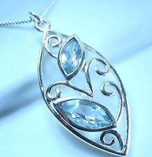 Faceted Blue Topaz Necklace 925 Sterling Silver Floral Style Double Gem Gemstone
