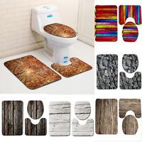 Wood Grain Non-Slip Carpet Set Pedestal Rug+Lid Toilet Seat Cover+Bath Mat Pad