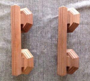 Pair Of Hardwood Craft Door/Cupboard Handles New/Old Stock (Dimensions Within)