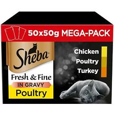 50 x 50g Sheba Fresh & Fine Adult Wet Cat Food Pouches Mixed Poultry in Gravy