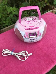 Hello Kitty Boombox Stereo CD Player Cassette Player & Radio FM/AM Model KT2028A
