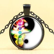 Wholesale Cabochon Glass Black  Chain Pendant Necklace ,Seven chakras /20