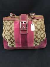 38d692ad9e Coach Signature Handbag With Maroon  Pink Trim