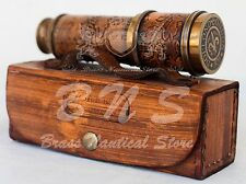 Antique Nautical Leather Design Vintage Brass Spyglass Telescope Marine Scope
