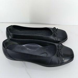 SAS Womens Size 8 Black Leather Cap Toe Flats EUC