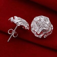 Rose Shaped Ear Studs Earrings Gift Women Fashion Jewelry Silver Plated Floral