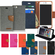 Leather wallet Canvas slim pocket case cover for Galaxy S10 5G S9 Note9 iPhone X