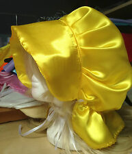 victorian tudor yellow adult baby fancy dress satin bonnet cap hat sissy maid