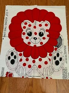 Rare Vintage Red & Black Polka Dot Lion Fabric Panel Toy ~ So Cute!