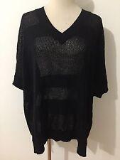 Joan Vaas V-Neck Linen/Cotton Sweater Semi-Sheer Black Stripes (Plus) One Size