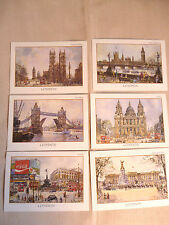 6 postcards Coloured prints of London scenes Thomas Benacci (2)  NEW
