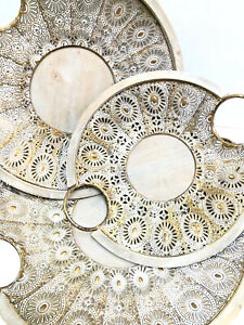 Round Tray Vintage Oriental Style Set Of 3 Brass & Wood Plate By Zenda Imports