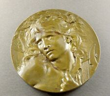 French, Large Medal. Man, Orphee. Art Nouveau. Music, Lyre. By Coudray.