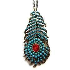 COLLIER sautoir femme long pendentif doré grande plume bleu turquoise et rouge