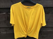 Zara Basic Collection Mustard Round Neck Short Sleeved Top With Front Knot Small