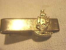 Vtg Robbins Company Tie Clip Bar Tall Sailing Ship Gold Tone