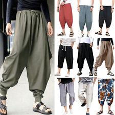 Men's Baggy Cotton Linen Casual Harem Japanese Pants Hippie Dance Yoga Trousers