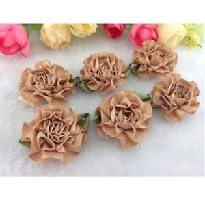 10-50pcs satin ribbon Carnation Flower Appliques/craft/Wedding decoration
