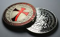 Large Masonic Knights Templar Silver Coin with Red Enamel. Freemasonry/Masons
