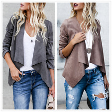 Womens Soft Faux Leather Short Jacket Coat Spring Outwear Long Sleeve Waterfall