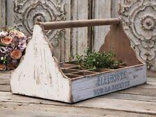 Chic Antique Holzkasten Kiste antikweiss 15 Fächer Vintage Shabby Landhaus NEU