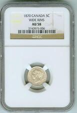 Original NGC AU58 1870 Canada 5 cents--Wide Rims!