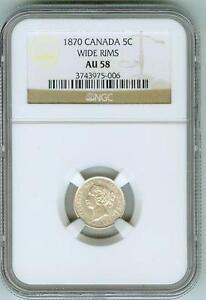 Original NGC AU58 1870 Canada 5 cents--Wide Rims!