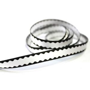 "3/8""9mm Black & White Stripe Printed 20/100 Yards Ribbon Hairbow Charm Crafting"
