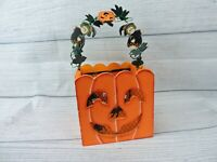 Halloween Basket Jack O Lantern Pumpkin Decorative Wooden Handle Shabby Chic