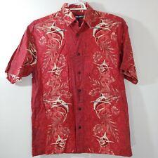 Reel Legends Sword Fish Print Red Fishing Shirt Size M Brown Buttons Medium