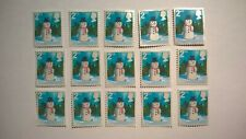 15 UNFRANKED SECOND CLASS CHRISTMAS 2006 SNOWMAN STAMPS OFF PAPER NO GUM