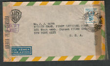 Brazil Dec 1944 WWII multiple censors cover Warner Bros First National to NY