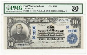 1902 Old NB of Fort Wayne, IN $10 National Banknote Fr.624 Ch# 3285 - PMG VF 30
