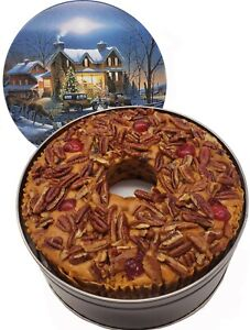 Jane Parker Classic Light Fruit Cake 48 oz Ring in a Holiday Tin FRESH for 2021