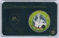 Football Champion 999 RHODIUM/Gold veredelte Medaille, Prestige-Satz UNC