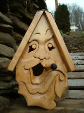 """Unique Smoking Bird House Rustic Hand Carved Cigar Face Wood Spirit 14"""""""