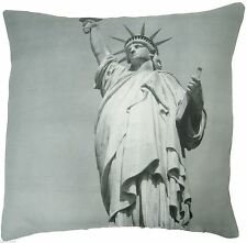 "STATUE OF LIBERTY NEW YORK AMERICA USA BLACK MULTI 18"" CUSHION COVER"