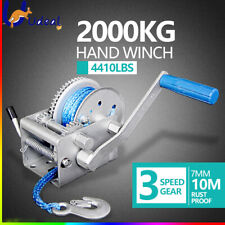 Hand Winch Synthetic Dyneema Rope Boat Car Trailer 3 Speed 10M 2000KG 4410LBS