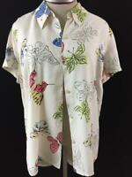 Liz Claiborne top blouse size L large shorts sleeve butterfly button down