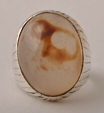 Silver agate aqeeq Men Ring-Middle Eastern-yemen-yemeni-unique-DHL