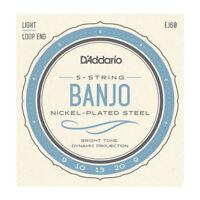 D'Addario EJ60 5-String Banjo, Nickel, Light, 9-20