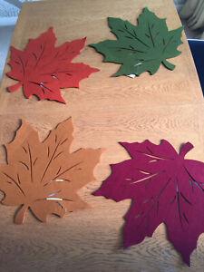 Autumn/ Halloween Leaves Felt Multicolour Place/ Table Mats