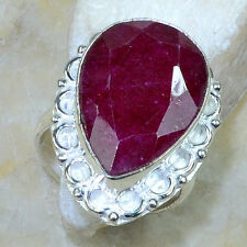 HUGE 18X24 MM GENUINE PEAR SHAPED CHERRY RUBY SOLITAIRE 925 SILVER RING SIZE 10