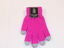 WOMEN'S 2 CHIC PINK GREY MAGIC FINGERS TOUCH SCREEN GLOVES NEW