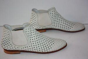 MELVIN & HAMILTON Boots Femme Cuir Souple Ajouré Blanc T 41 TBE