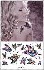 Color Butterfly Tattoo Sticker DIY Keep 3-5 days Waterproof 9x17cm TE010