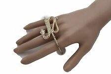 Women Gold Metal Snake Ring Fashion Jewelry 4 Fingers Knuckle Wide Band Animal