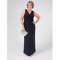 QVC Ruth Langsford Knot Detail V Neck Black Maxi Dress Petite - SIZE M