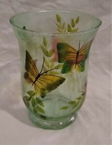 Textured Glass Clear/Green Candle Holder Hurricane Globe/Vase--Butterflies/Leaf
